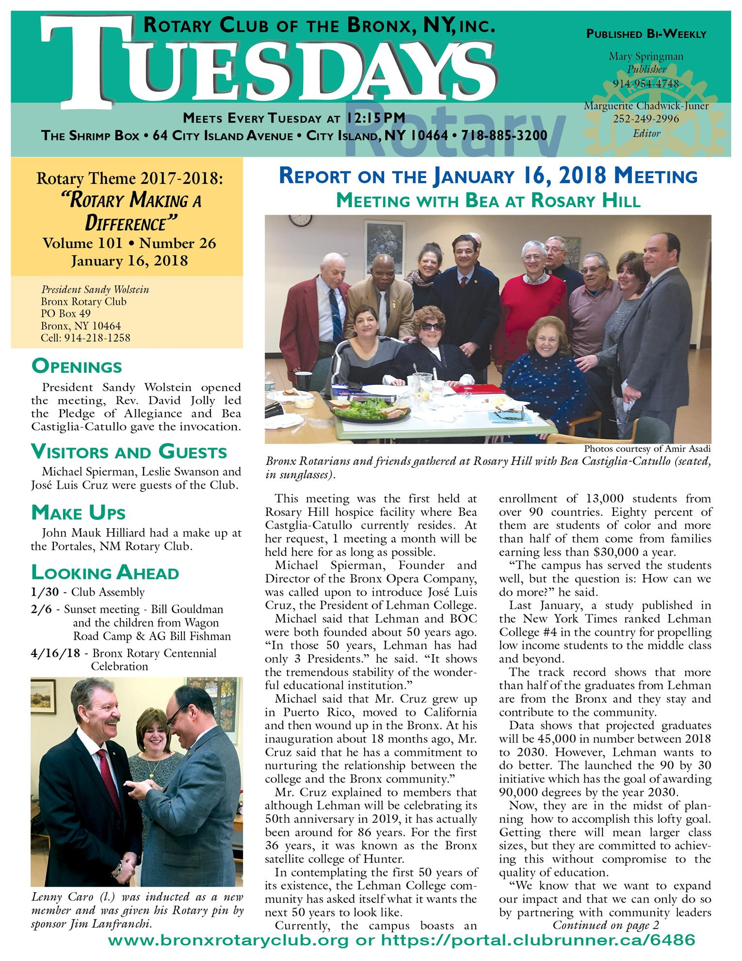 Tuesdays Newsletter 1/16 & 1/23/18 p1