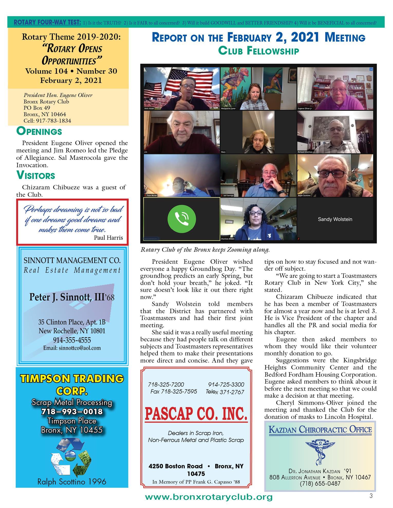 Tuesdays newsletter 1/26 & 2/2/2021 p3