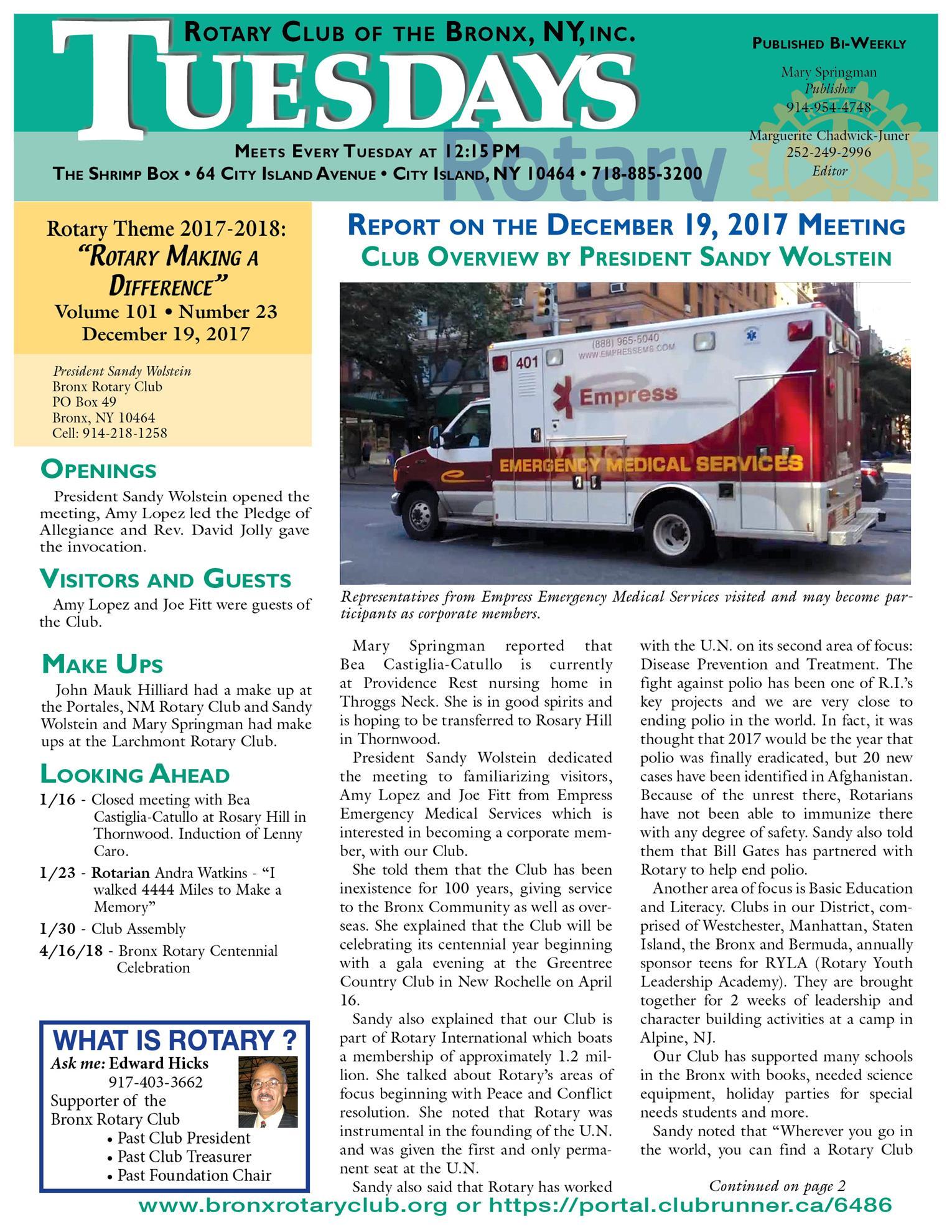Tuesdays Newsletter 12/19 & 12/26/17 & 1/9/18 p1