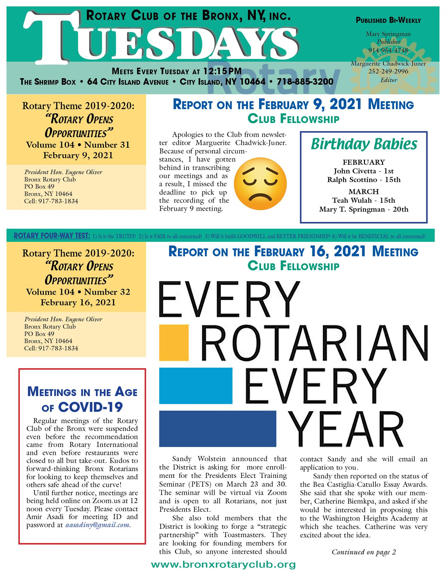 Tuesdays newsletter 2/9, 2/26 & 2/23/2021 p1