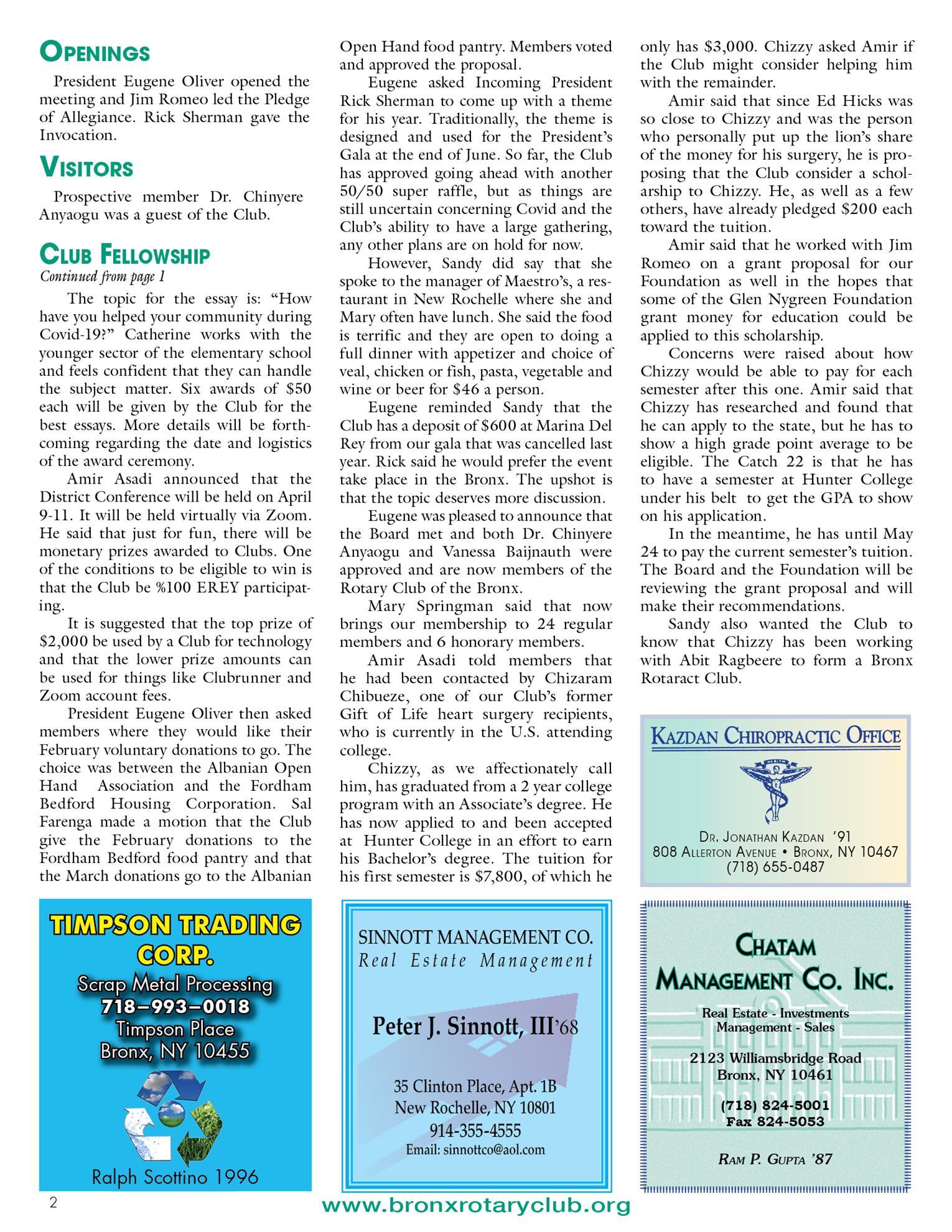 Tuesdays newsletter 2/9, 2/26 & 2/23/2021 p2