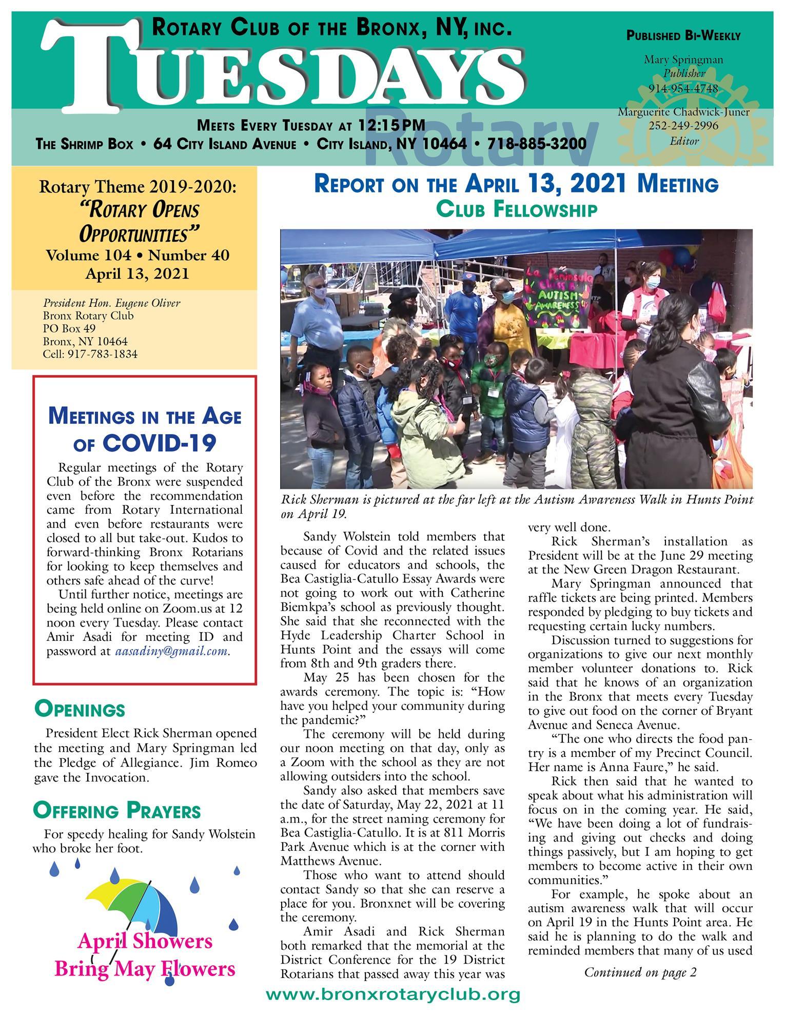 Tuesdays newsletter 4/13, 4/20 & 4/27/2021 p1