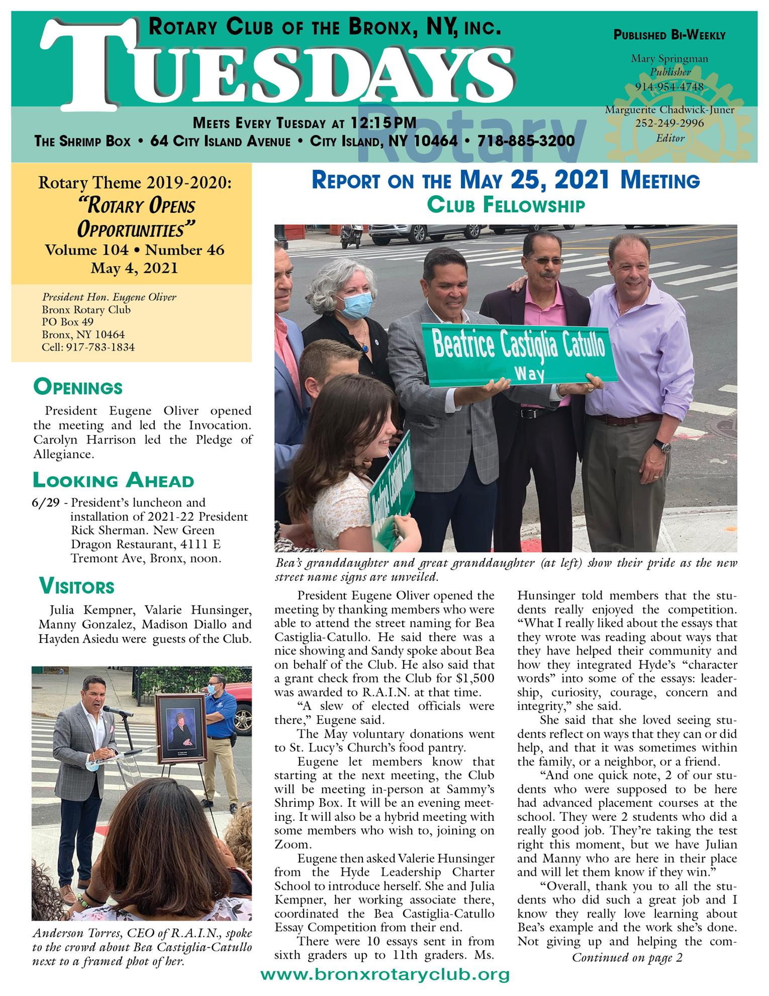 Tuesdays newsletter 5/25, 6/1 & 6/8 2021 p1