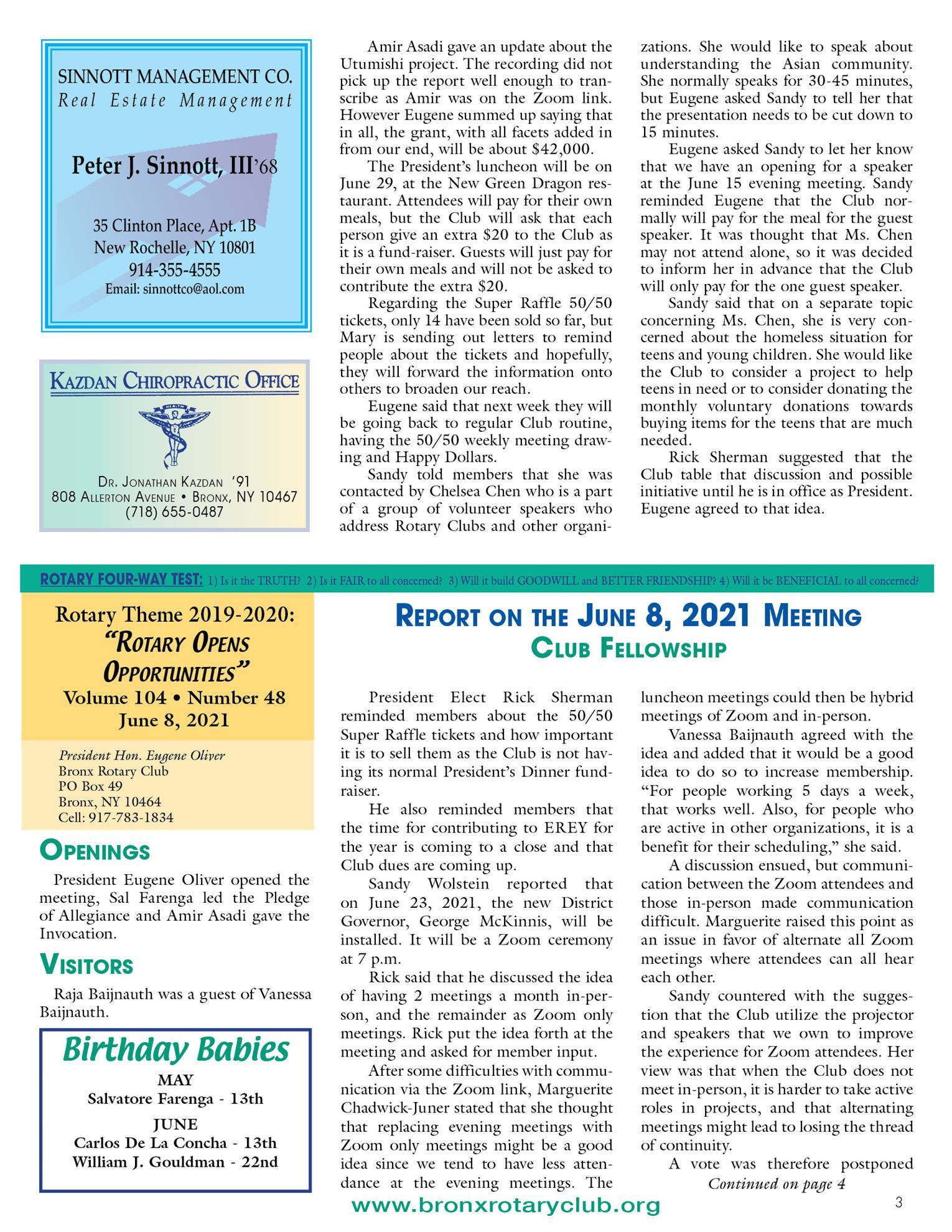 Tuesdays newsletter 5/25, 6/1 & 6/8 2021 p3