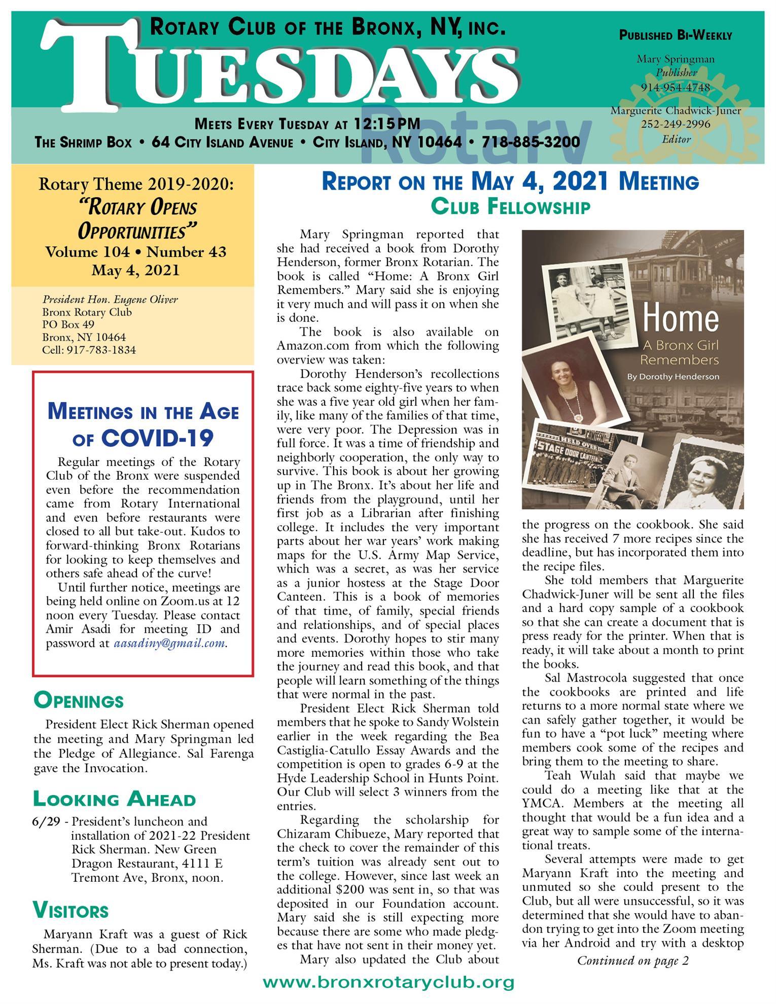 Tuesdays newsletter 5/4, 5/11 & 5/18 2021 p1