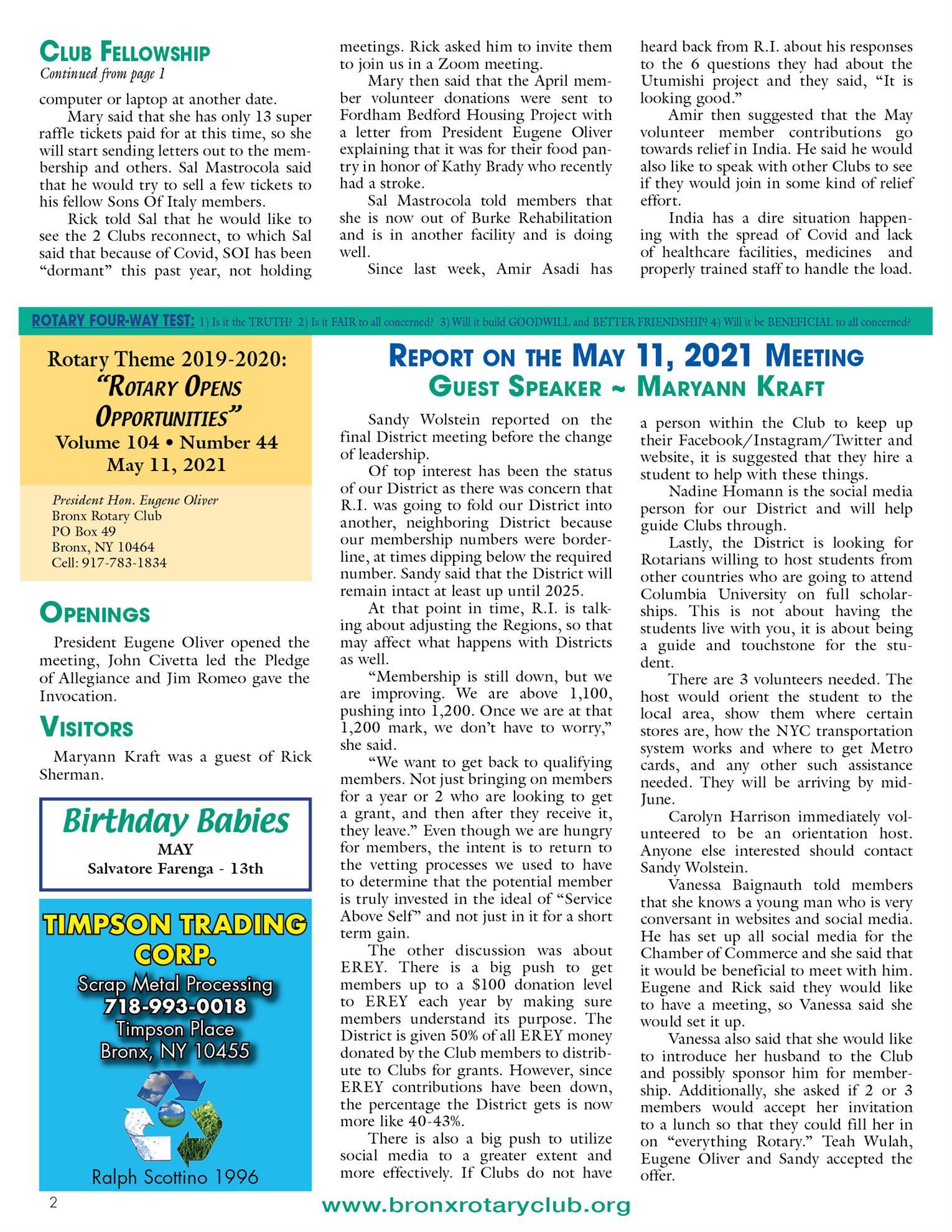 Tuesdays newsletter 5/4, 5/11 & 5/18 2021 p2