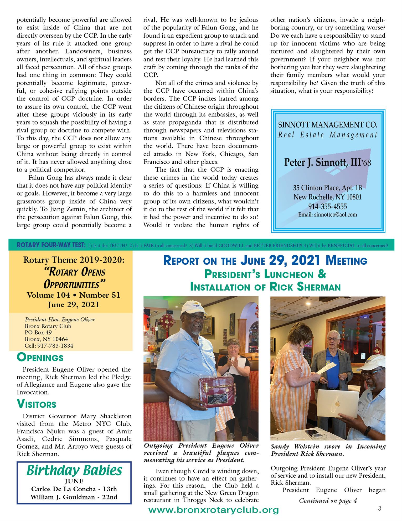 Tuesdays newsletter 6/15, 6/22 & 6/29/2021 p3