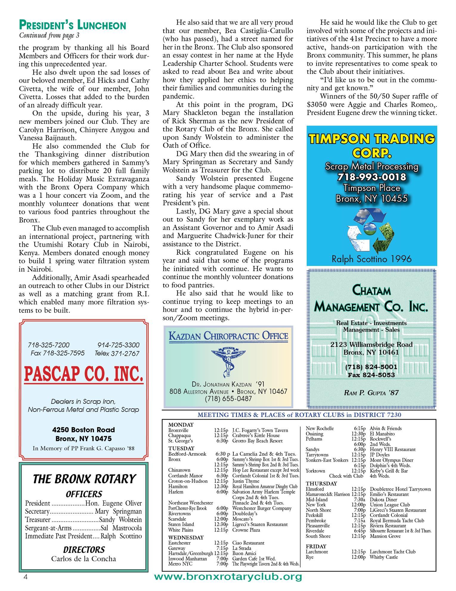 Tuesdays newsletter 6/15, 6/22 & 6/29/2021 p4