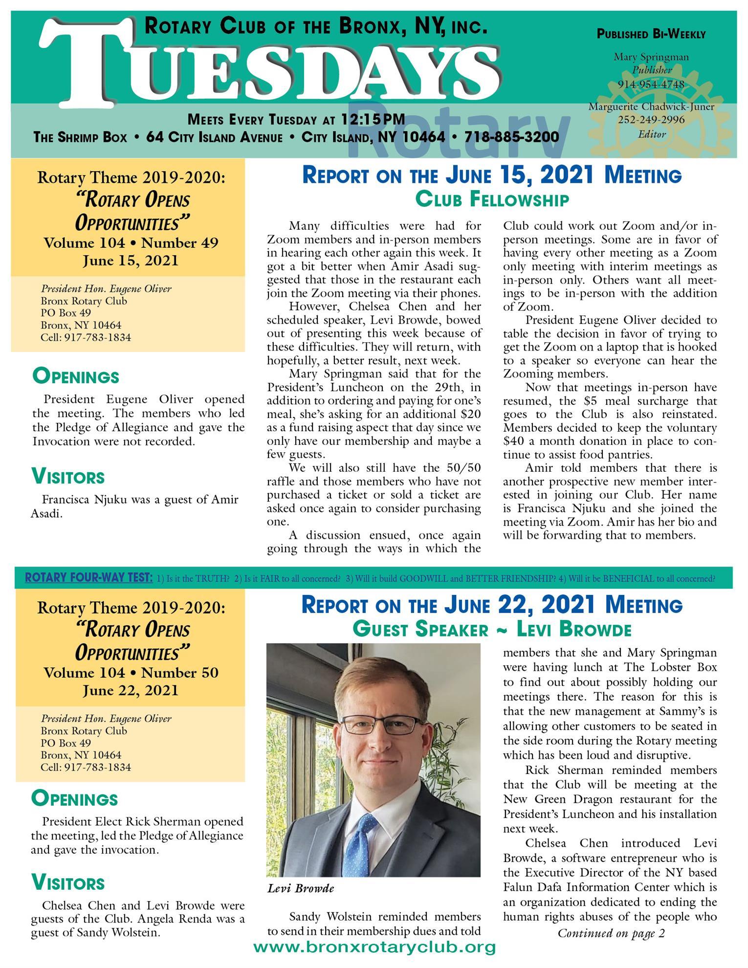Tuesdays newsletter 6/15, 6/22 & 6/29/2021 p1