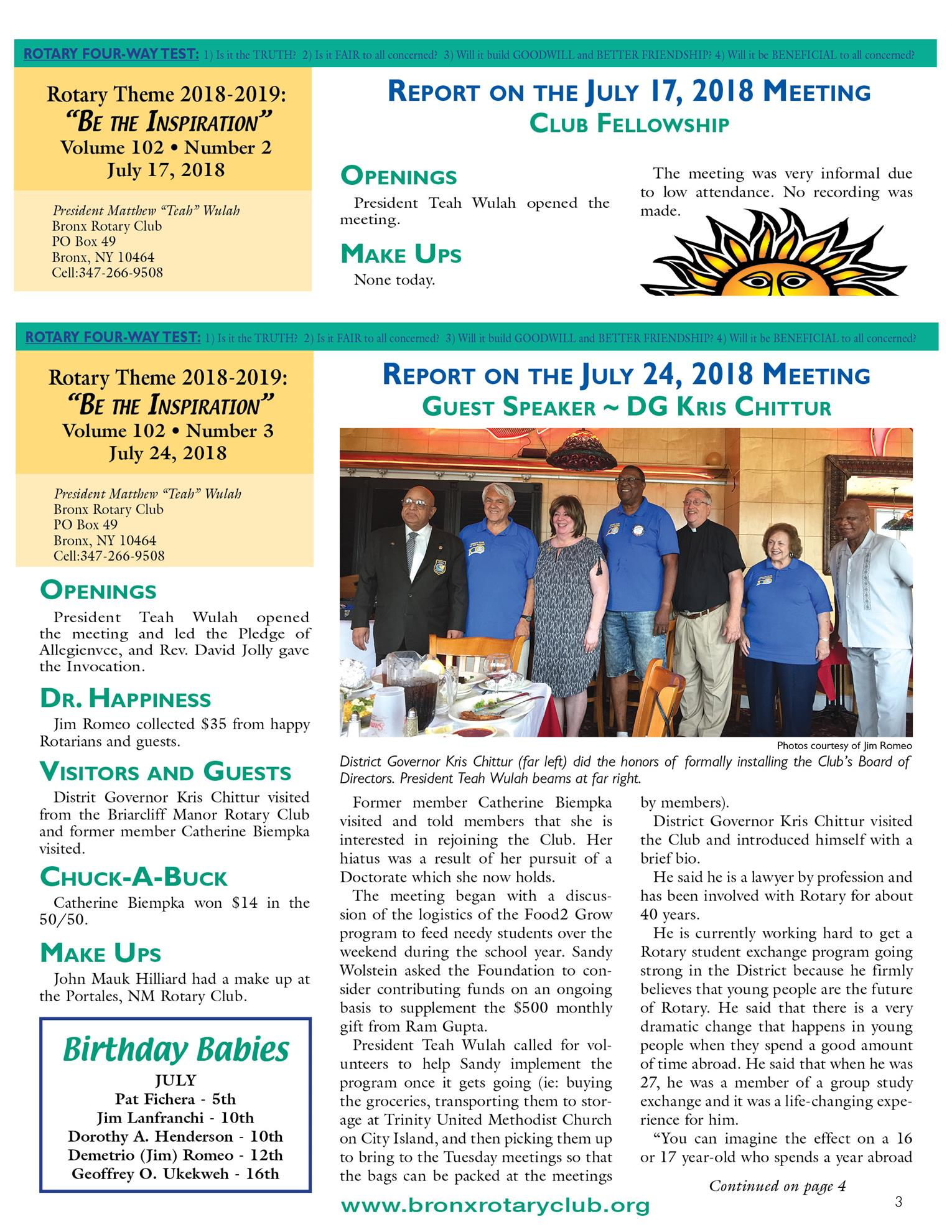 Tuesdays Newsletter 7/10, 17 & 24/2018  p3