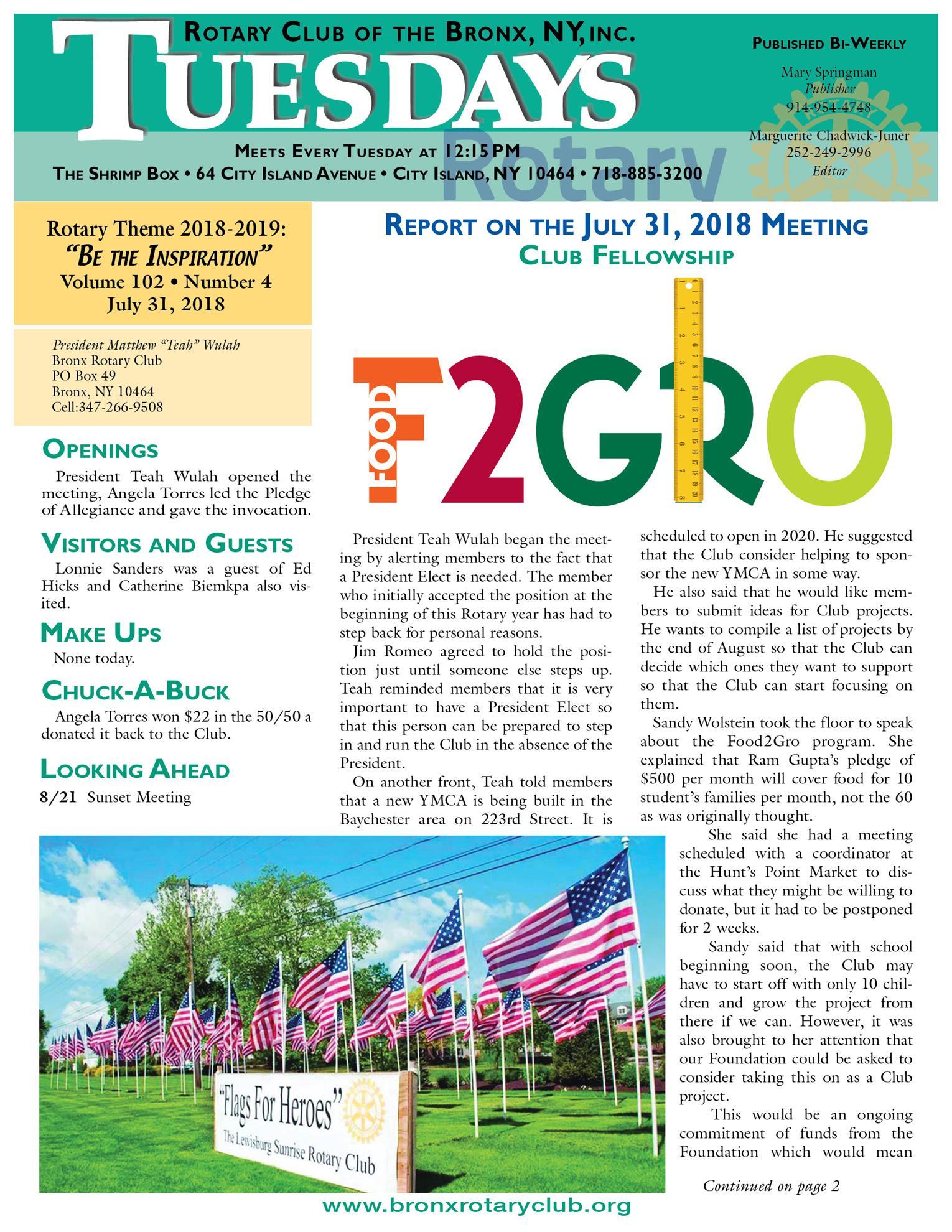 Tuesdays Newsletter 7/31, 8/7 & 8/14/2018 p1