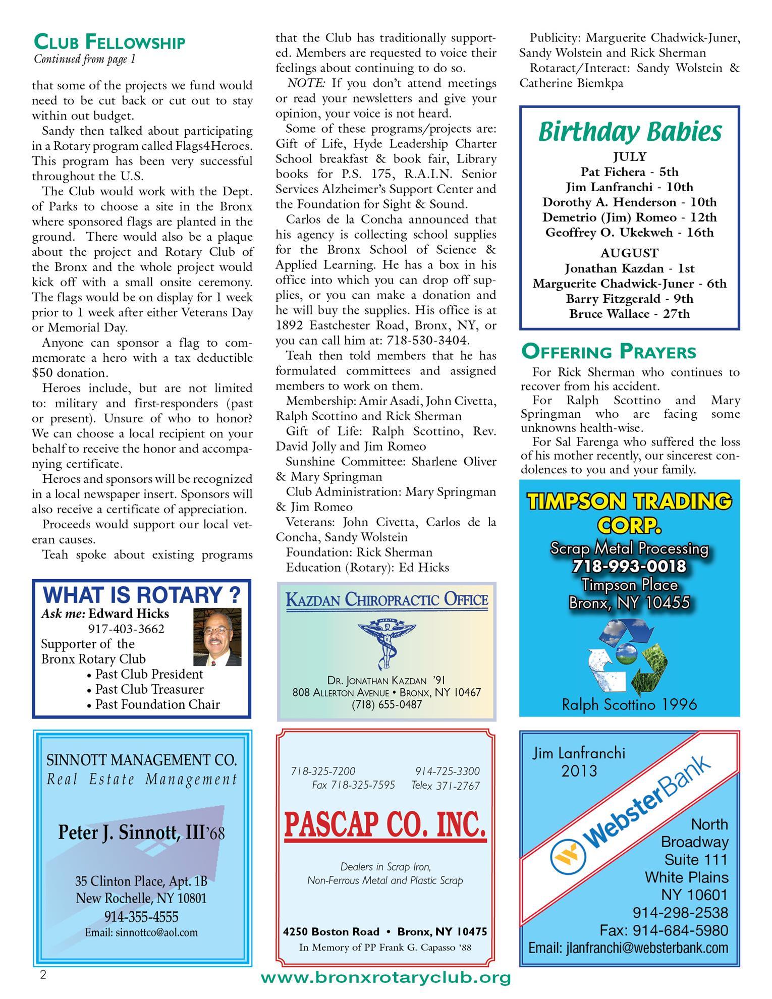 Tuesdays Newsletter 7/31, 8/7 & 8/14/2018 p2