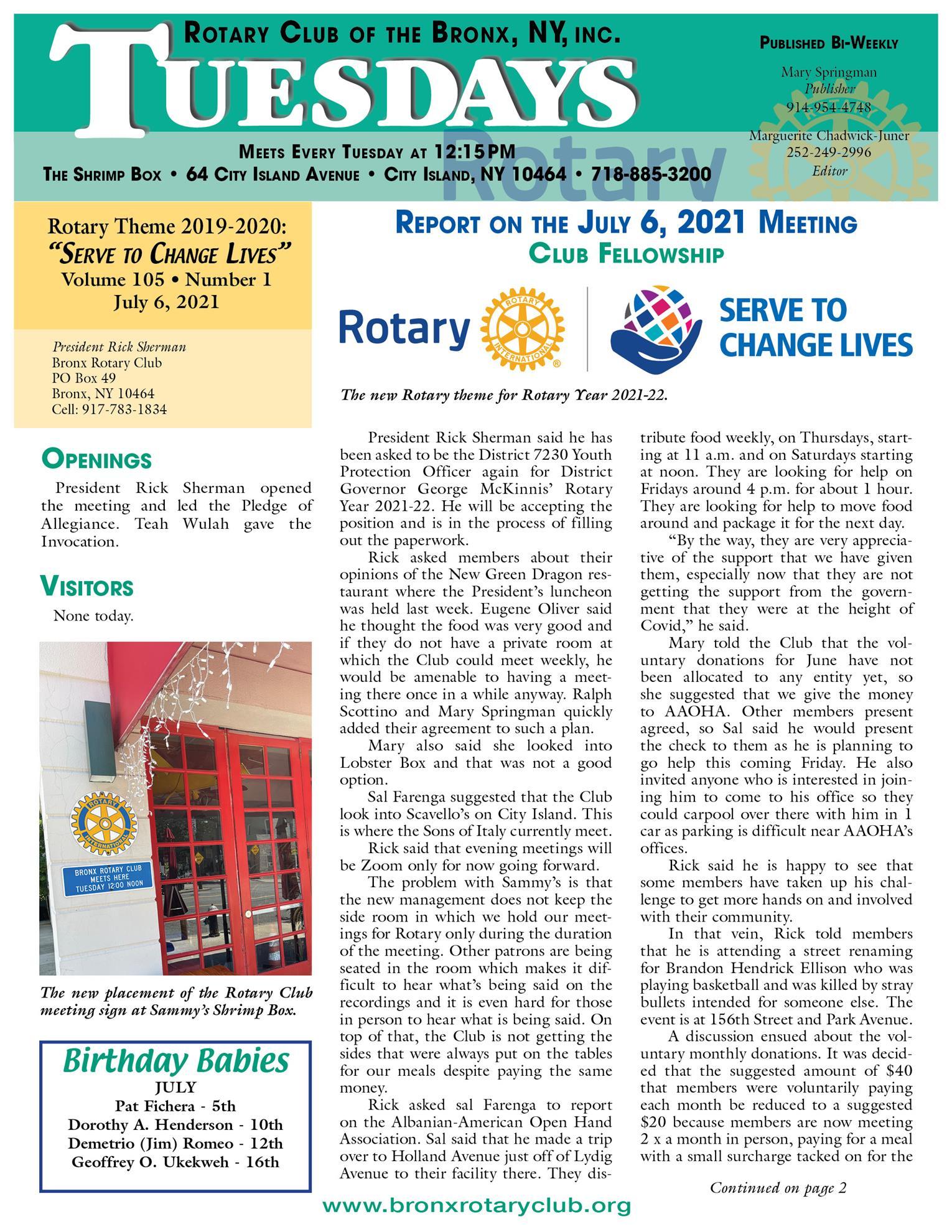 Tuesdays newsletter 7/6, 7/13 & 7/20/2021 p1