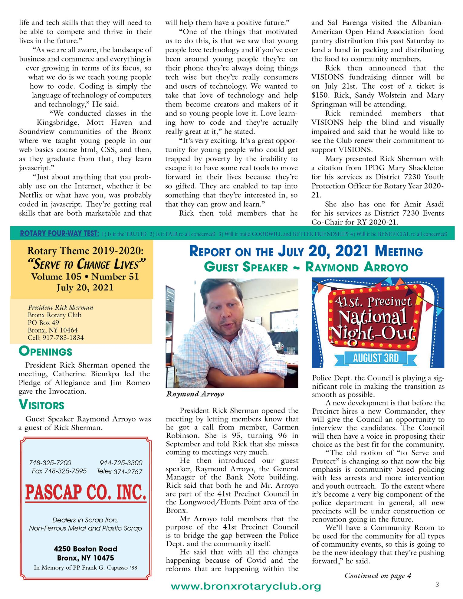 Tuesdays newsletter 7/6, 7/13 & 7/20/2021 p3