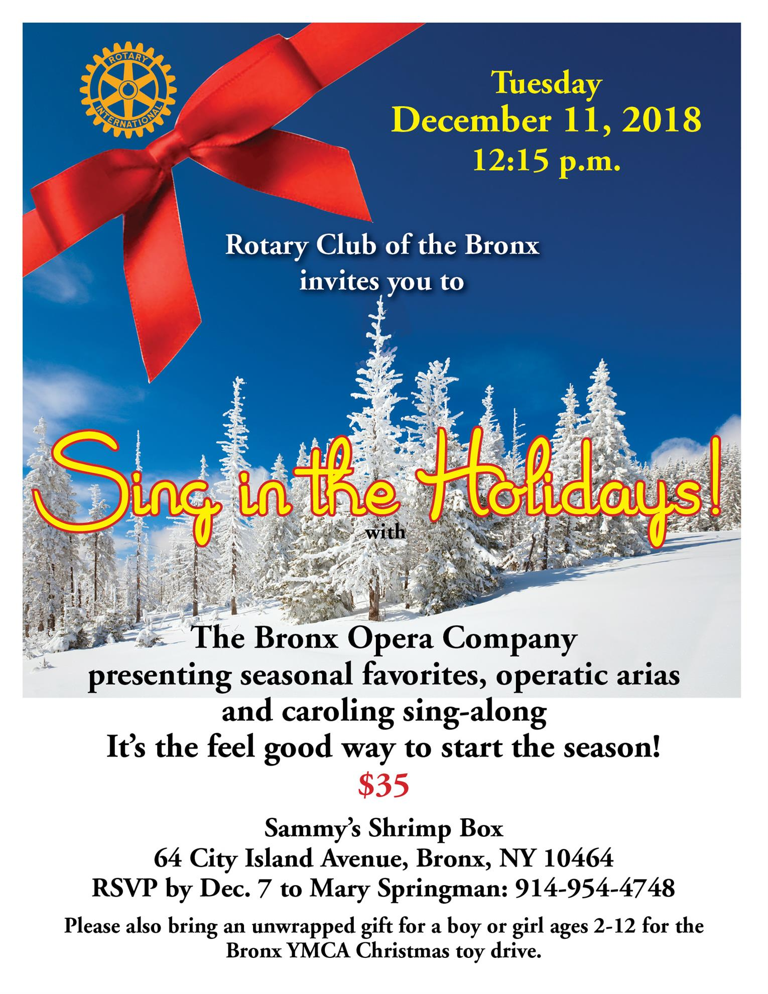 Bronx Rotary Holiday Party flyer