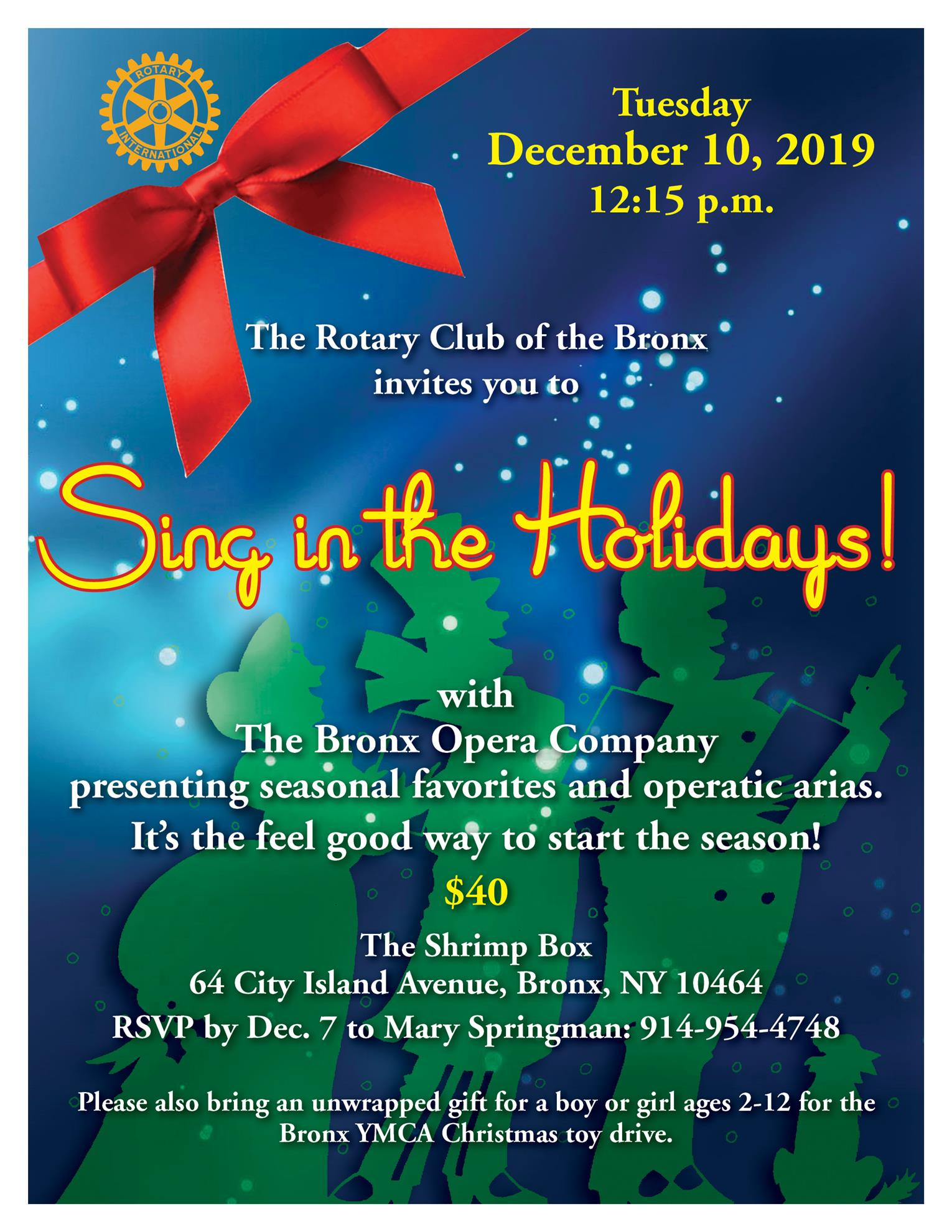 Holiday party at Bronx Rotary with Bronx Opera Co.