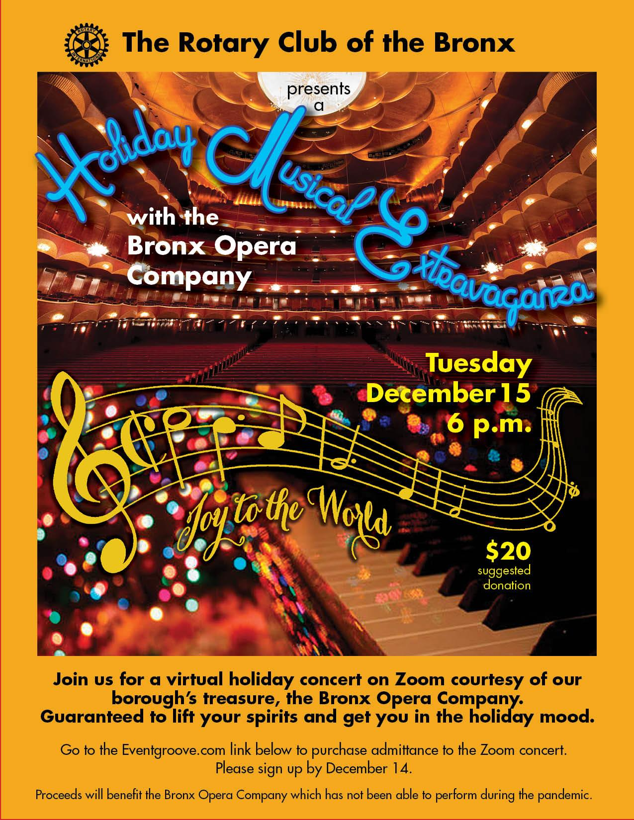 Holiday Musical Extravaganza with Bronx Opera Company invite