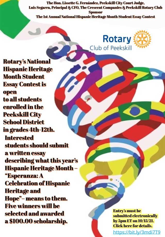 Peekskill Rotary's 1st Annual National Hispanic Heritage Essay Contest