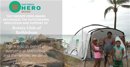 Our Club is a ShelterBox Hero!