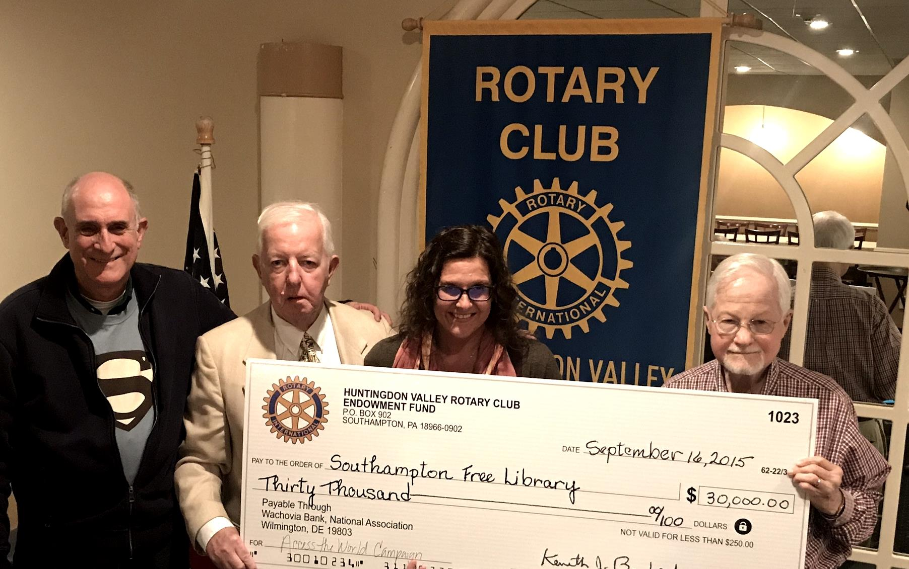 Southampton Library Pledge Complete | Rotary Club of