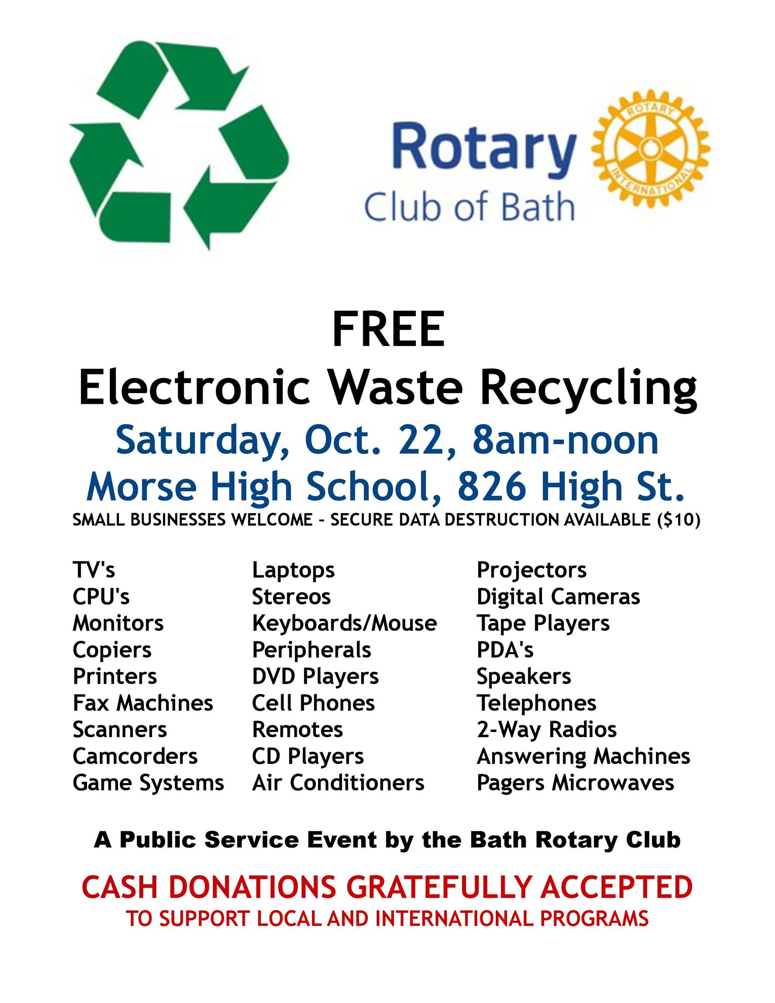 Electronic Waste Collection October 22, 8 a m -noon at Morse