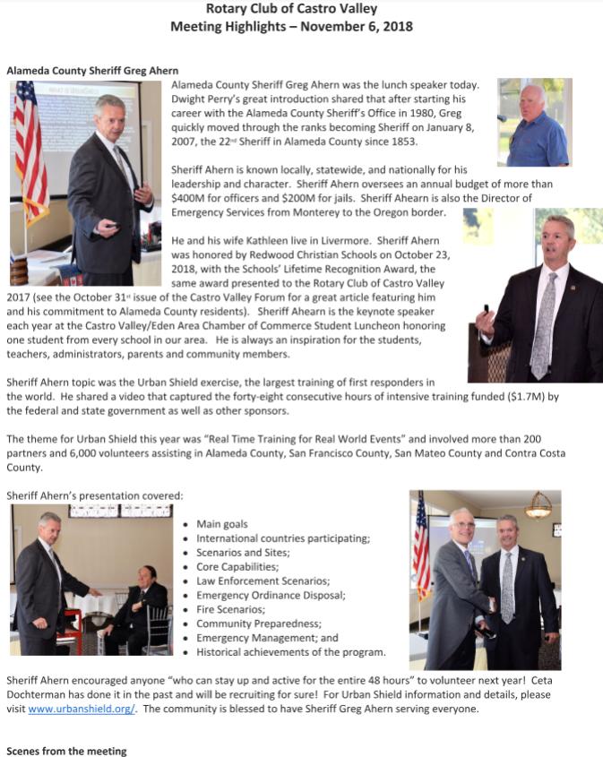 Meeting Highlights – November 6, 2018 | Rotary Club of