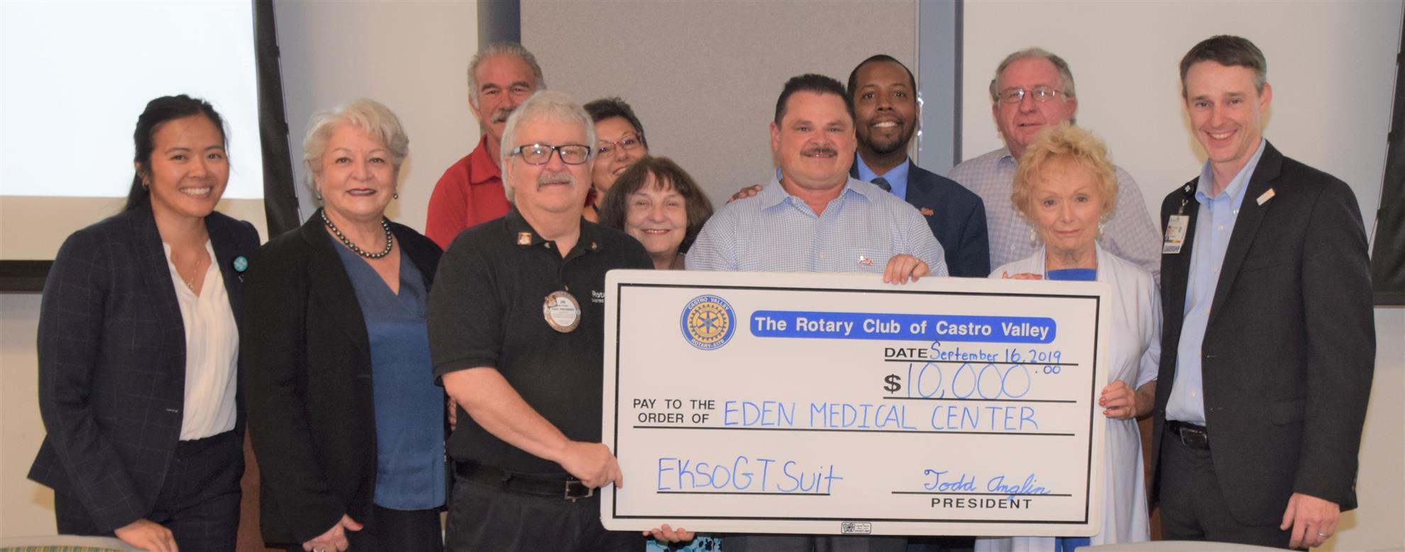 $10,000 Donation to Eden Medical Center September 2019