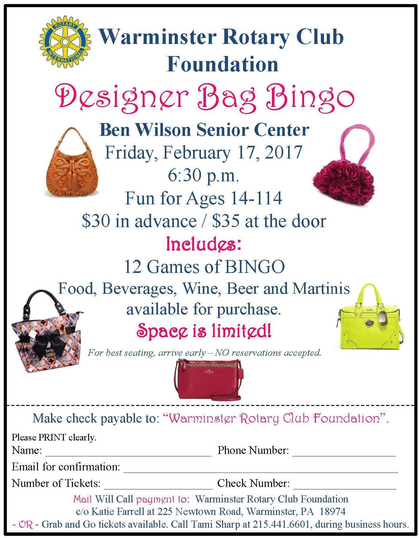 Designer Bag Bingo Feb 17 2017 Rotary Club Of Warminster
