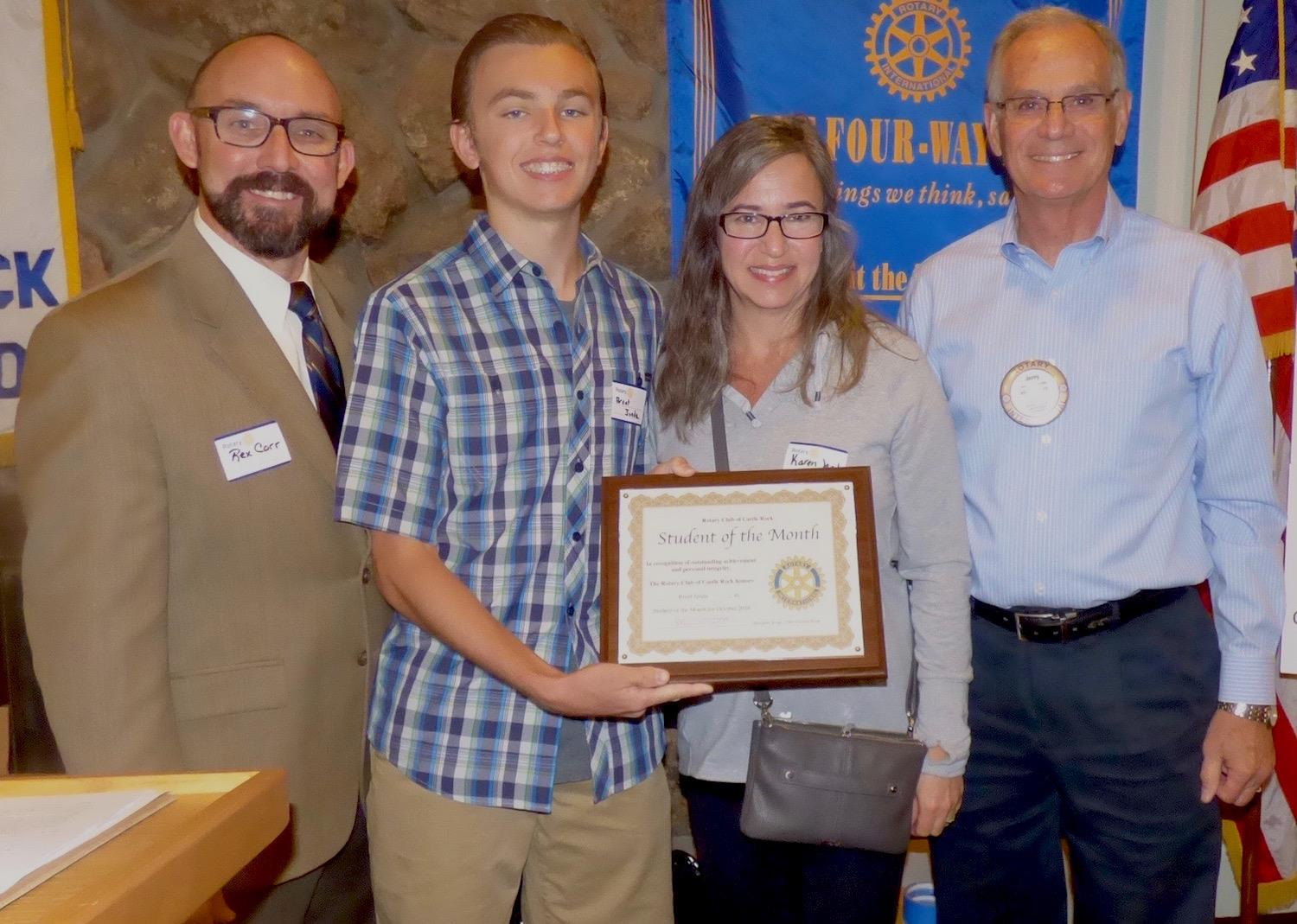 October 2016 Student Of The Month Brent Janda Rotary Club Of Castle Rock