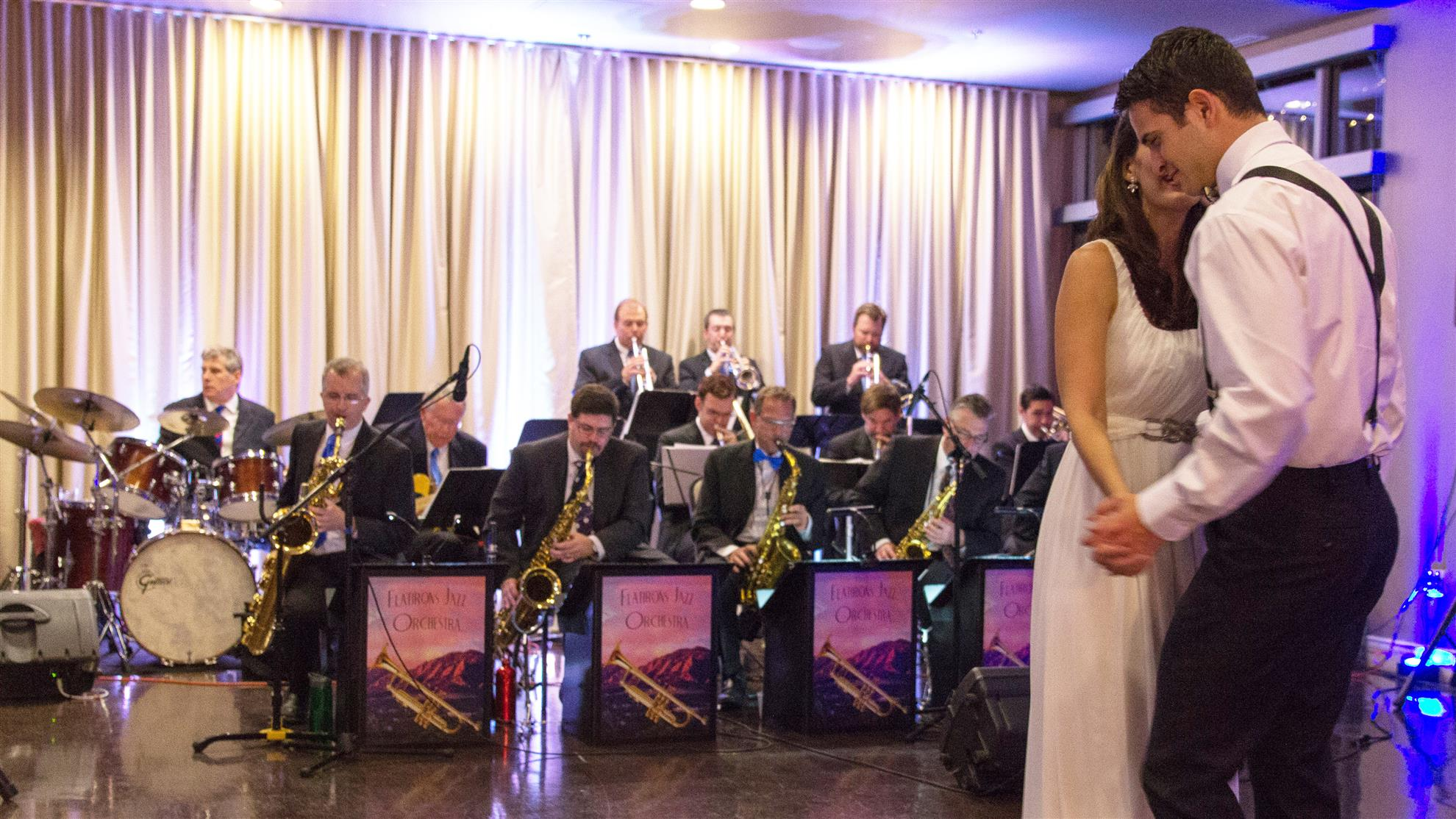 Flatirons Jazz Orchestra with couple dancing