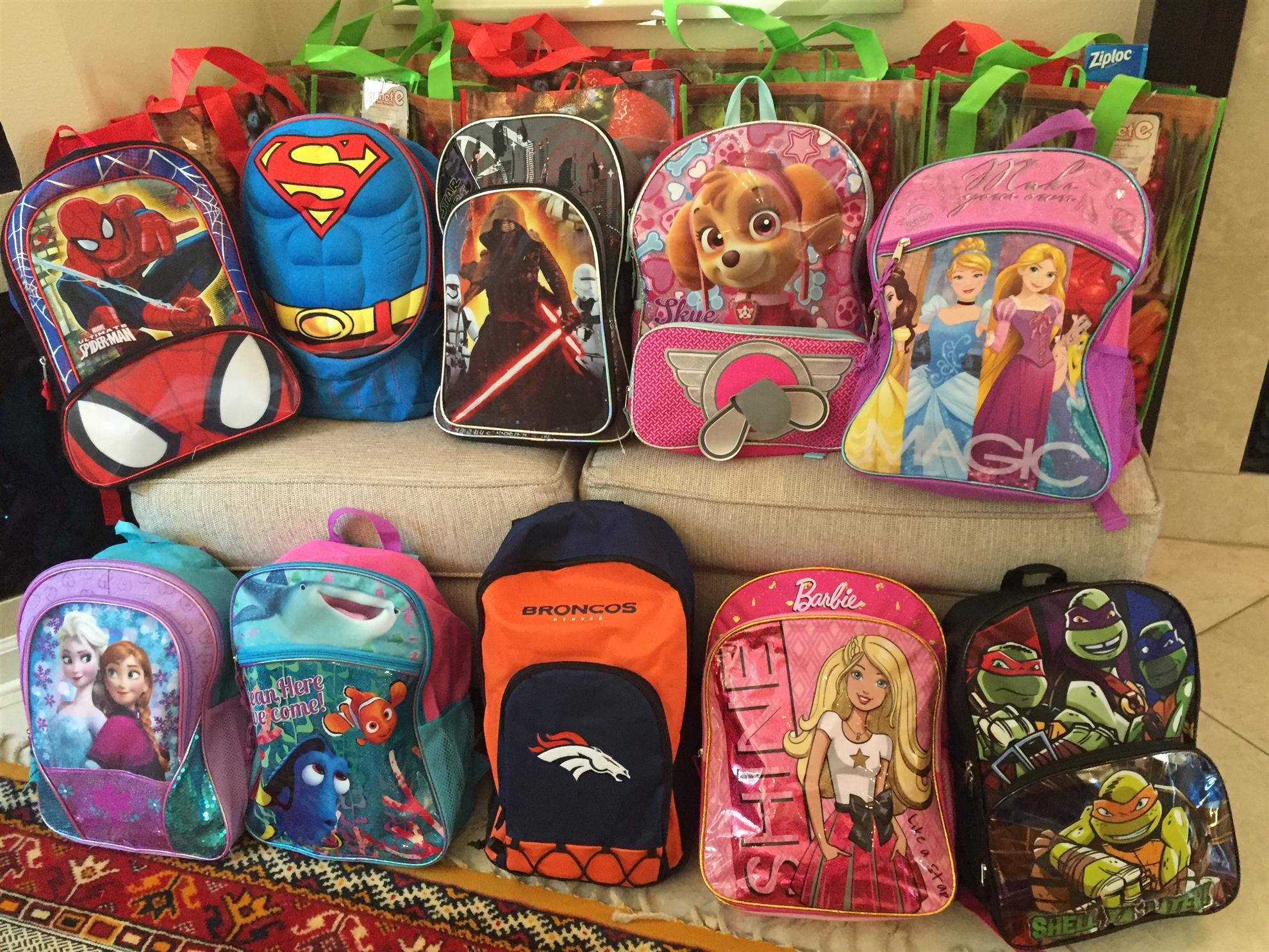 Backpacks for Bishop first graders