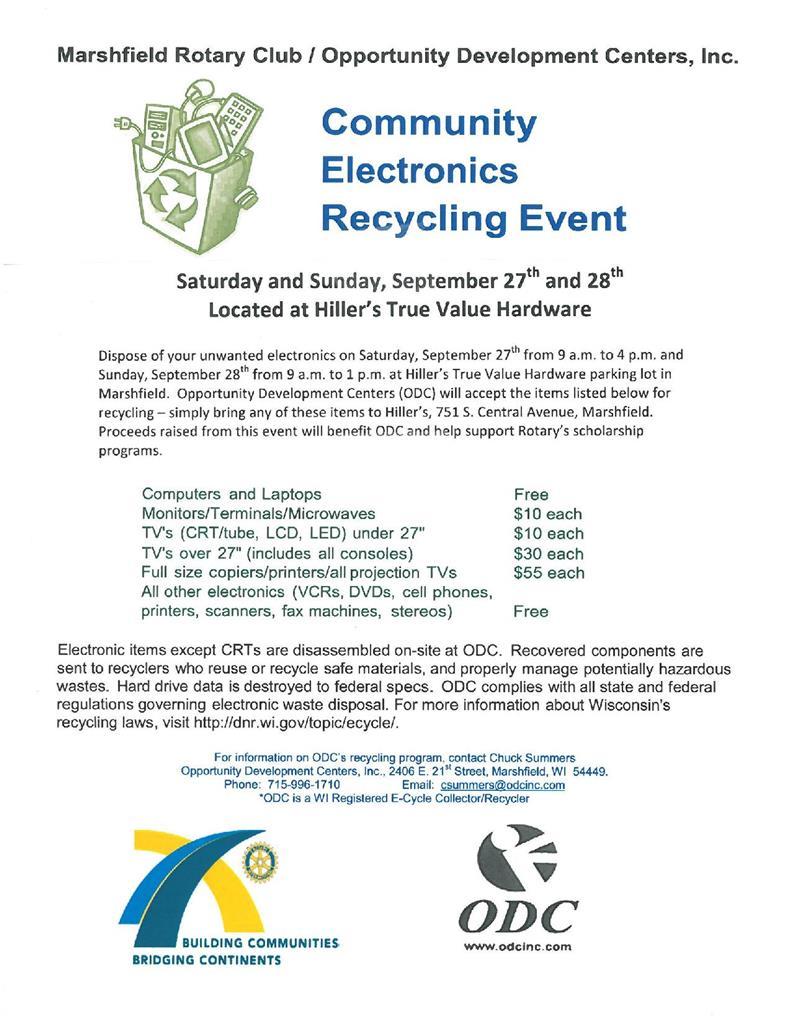 Community electronics recycling event rotary club of marshfield image solutioingenieria Choice Image