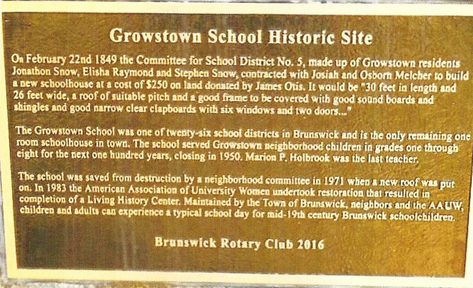 Growstown Historic Plaque