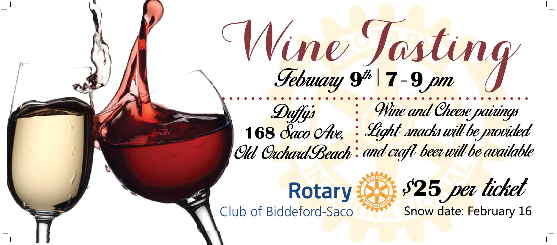 Everyone  Please mark your calendars for the Wine Tasting on Feb. 9 from  7 00 to 9 00 PM at Duffy s. We have a new location this year and the format  will be ... 7bf7ad83a