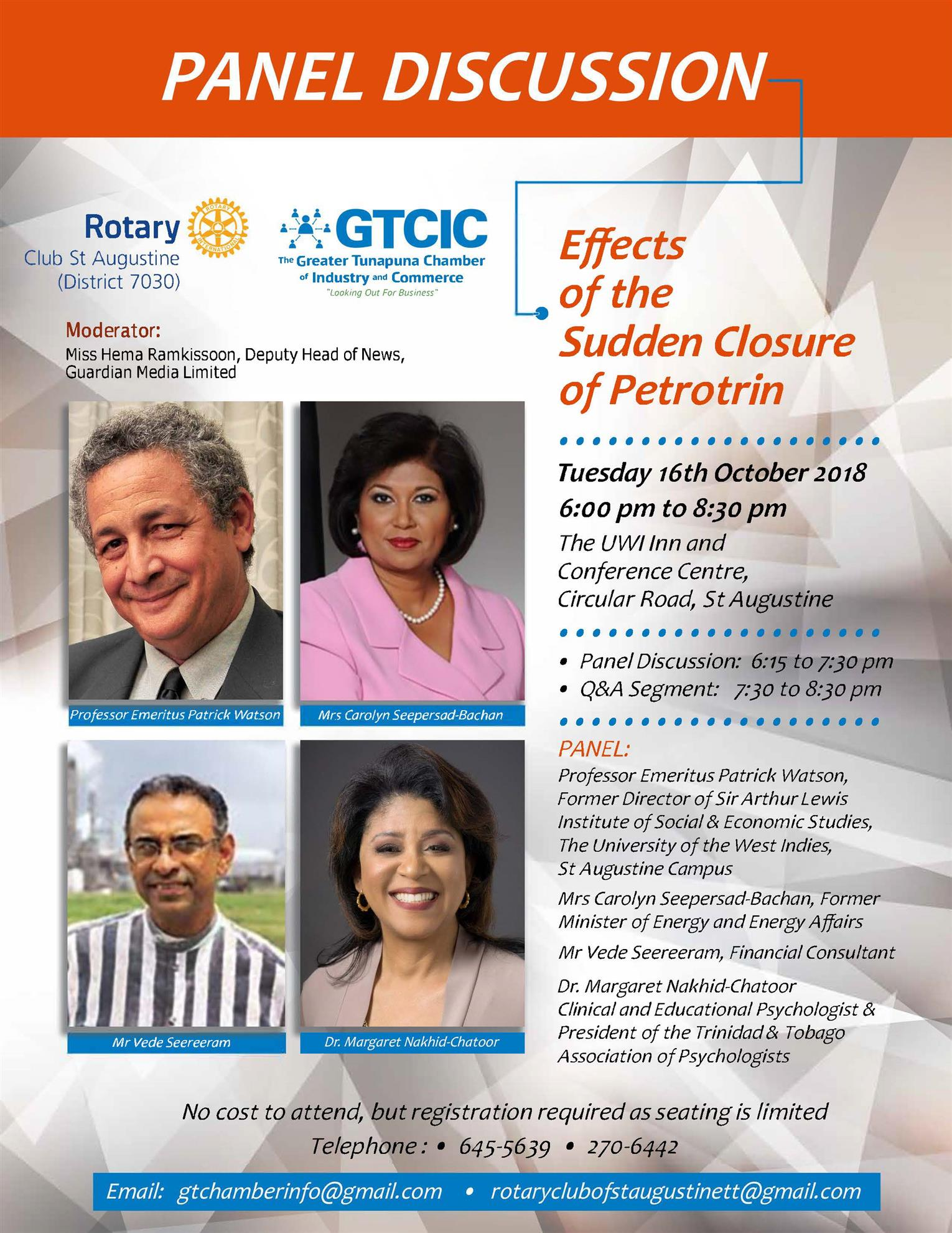 9b6b598c48 Our next Club Meeting will take the format of a Panel Discussion with The  Greater Tunapuna Chamber of Industry   Commerce (GTCIC) on  Effect of the  Sudden ...