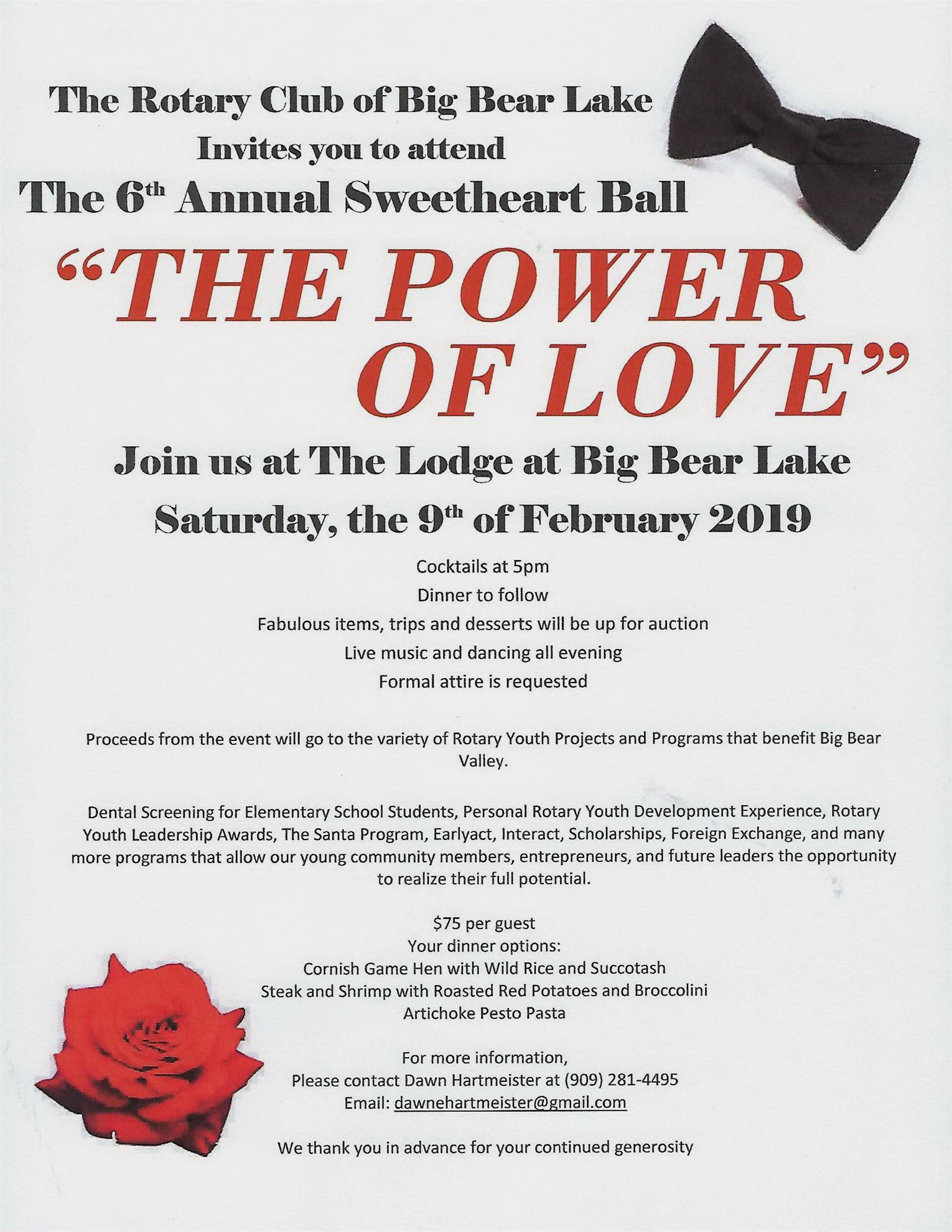 Valentines Gala Rotary Club Of Big Bear Lake