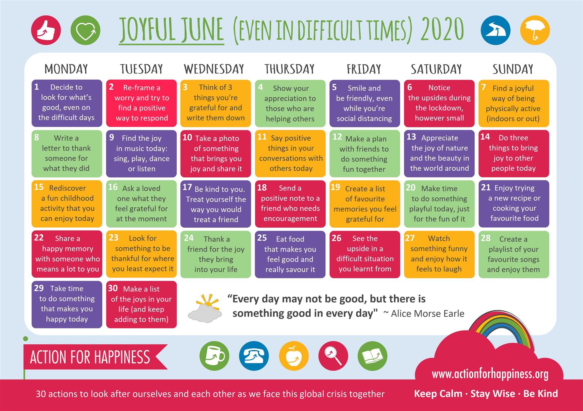 June 2020 Coping Calendar