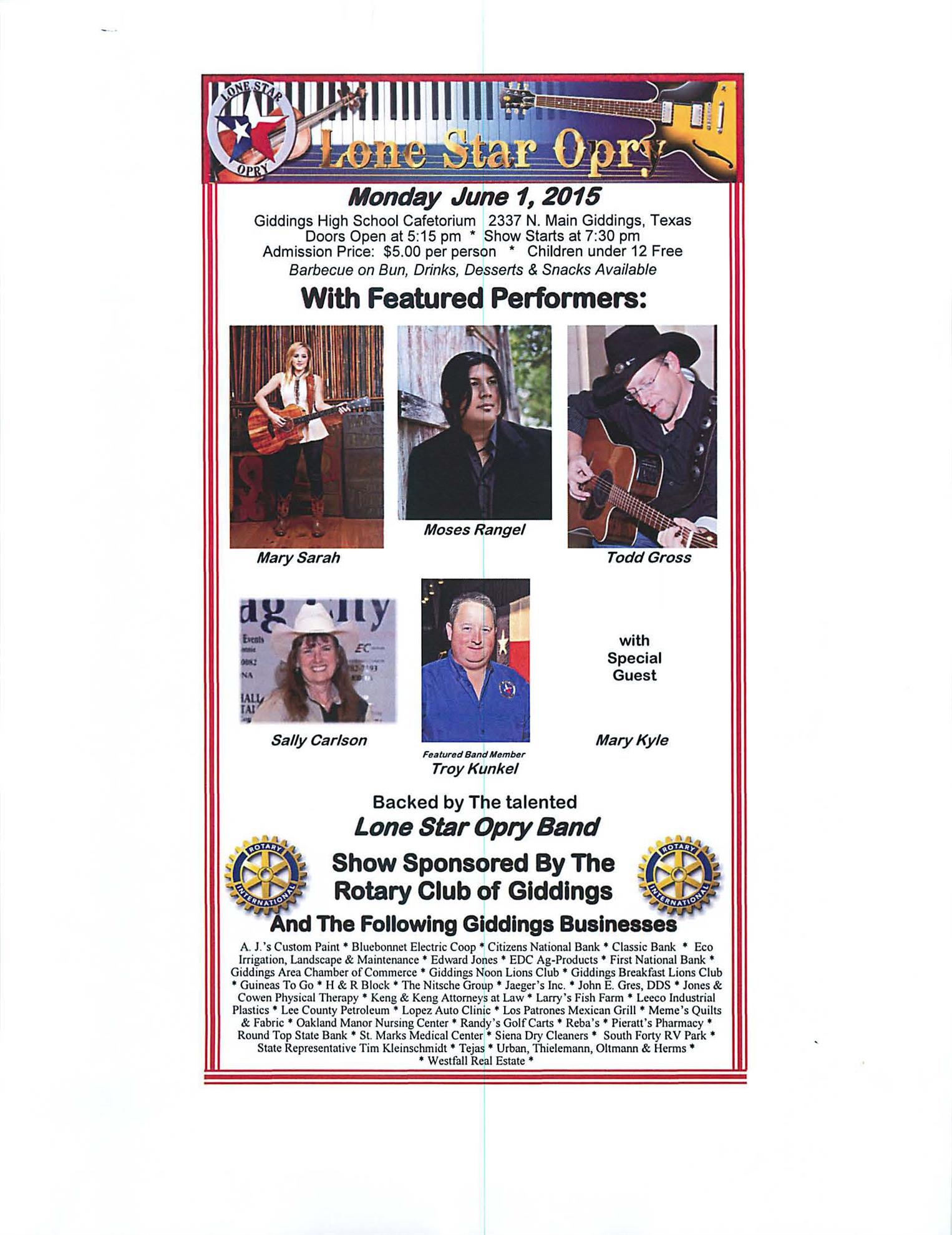 2015/06/01 Lone Star Opry Presents Country Music Monday