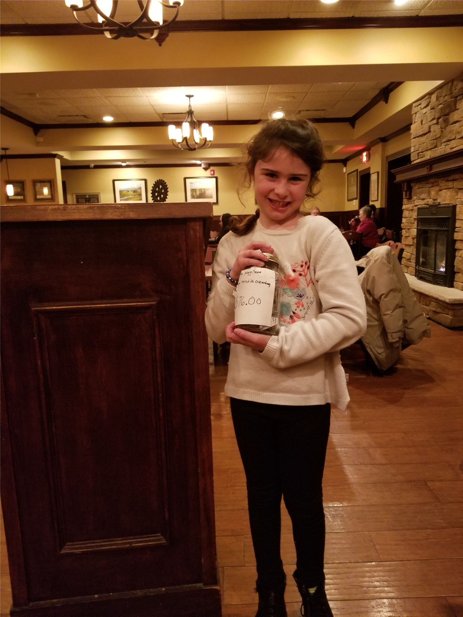 Meredith Radi collected Money for the Mendon Community Playground
