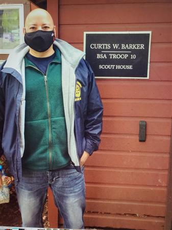 Mark in front of Scout House