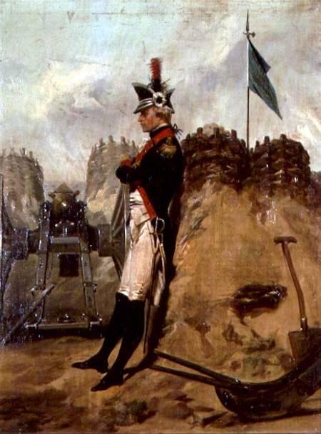 Alexander Hamilton vistiendo el uniforme de artillería de Nueva York.. Alonzo Chappel