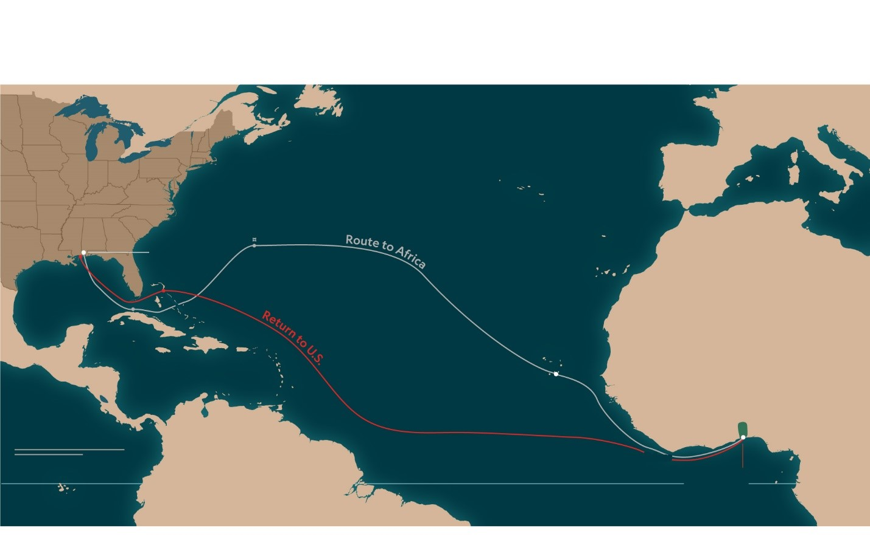 En 1860, Clotilda contrabandeaba cautivos de África Occidental a los Estados Unidos. Las rutas y las fechas se toman de la cuenta del capitán del barco, William Foster.