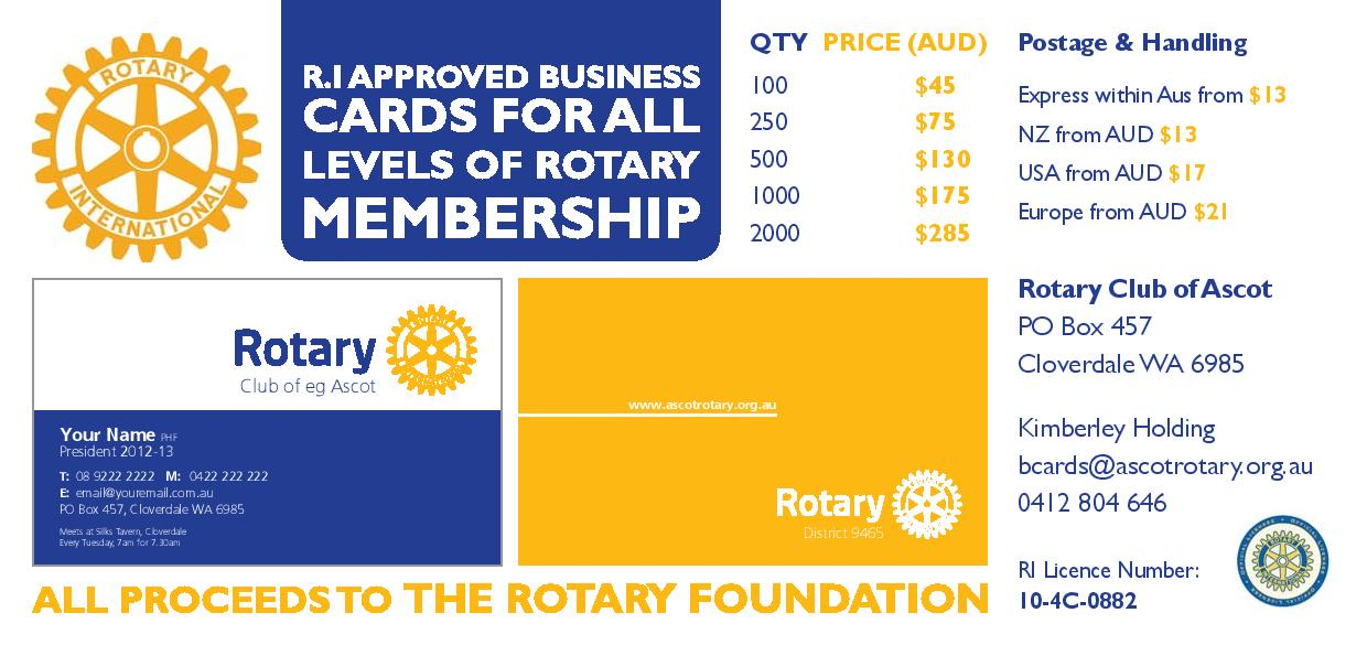 Official Rotary Business Cards Rotary Club Of Ascot