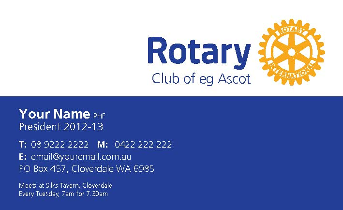Click Here To Create Your Club Rotary Business Cards