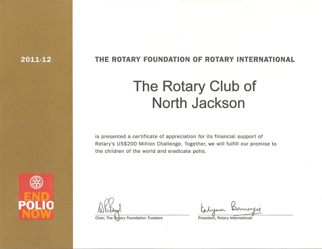 Rotary foundation appreciation certificate rotary club of north image yelopaper Gallery