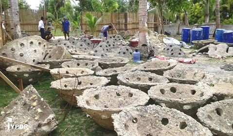 'Marine Domes' hand made by YPDR volunteers and local residents are ready to be deployed to help restore the coral reef off Bantan Island in the Philippines