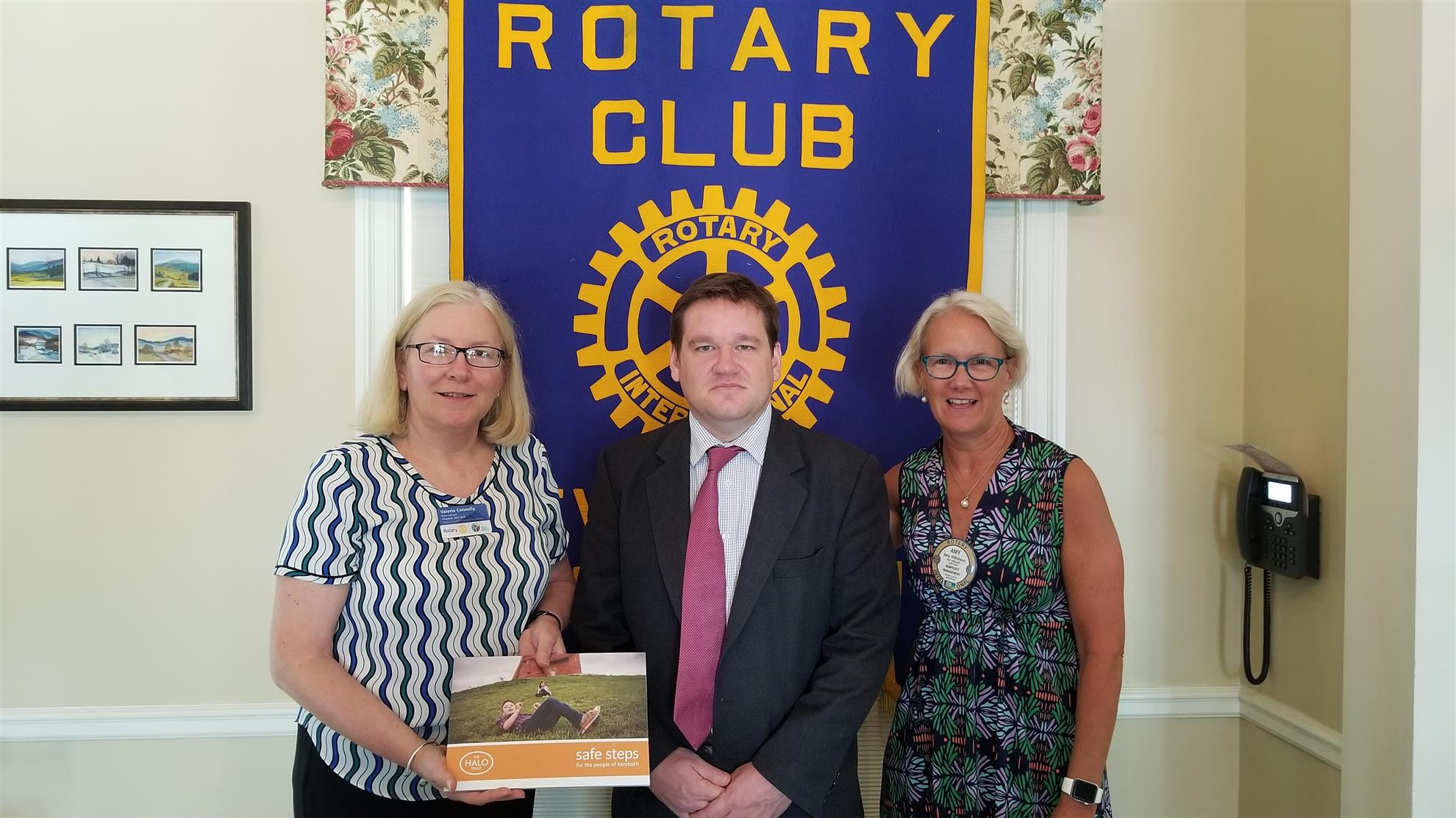 Club President, Valerie Connolly, welcomes Adam Jasinski, Executive Director of the HALO Trust, along with Club Allocations Chair, Amy Wilkinson