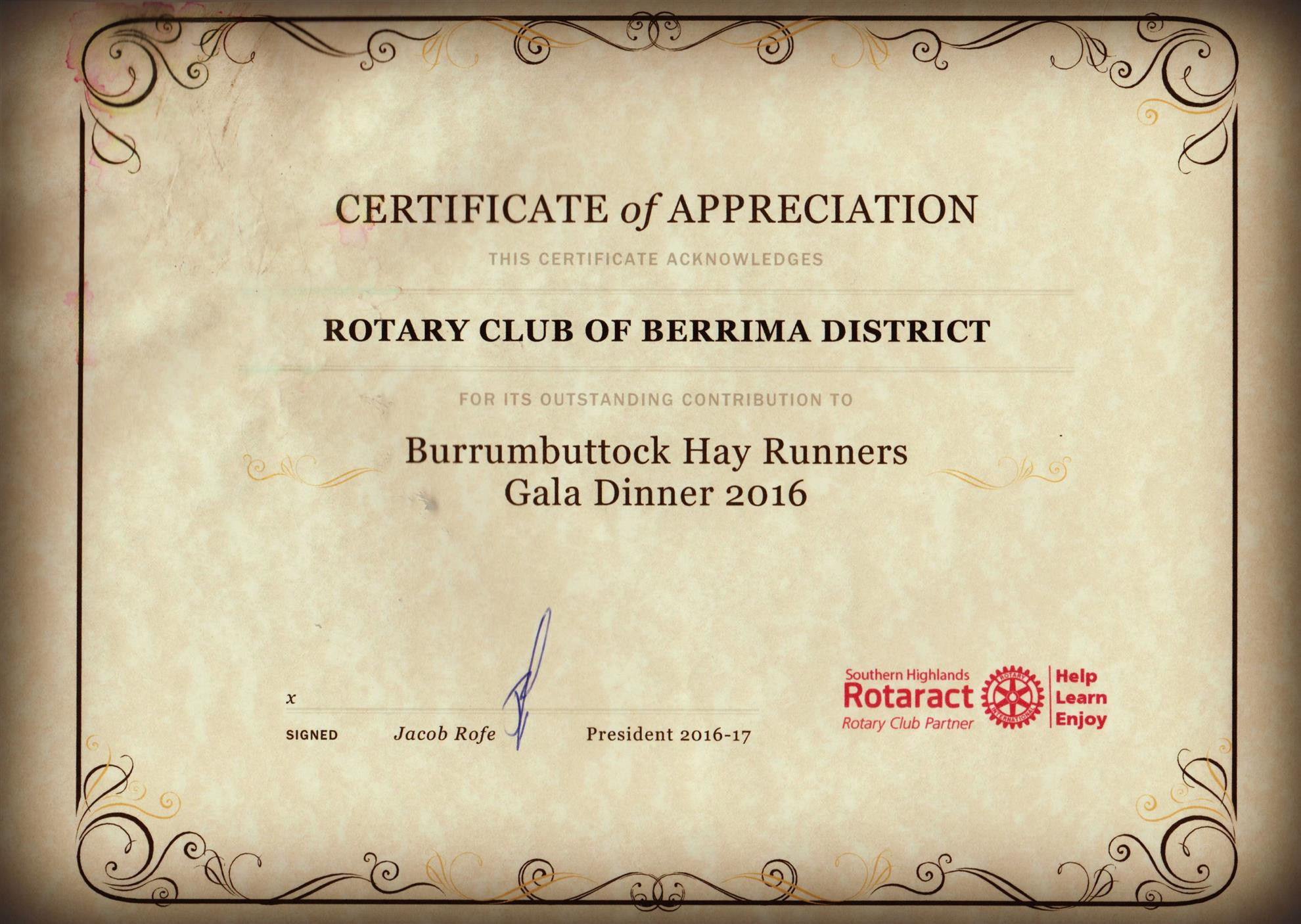 Southern highlands rotoract rotary club of berrima district for Rotary certificate of appreciation template