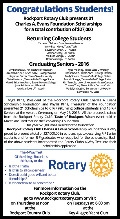 Myra Kline and Steve Clarkson presented the scholarships from the Rockport  Rotary Club Charles A. Evans Scholarship Foundation to 21 students on  Thursday ...