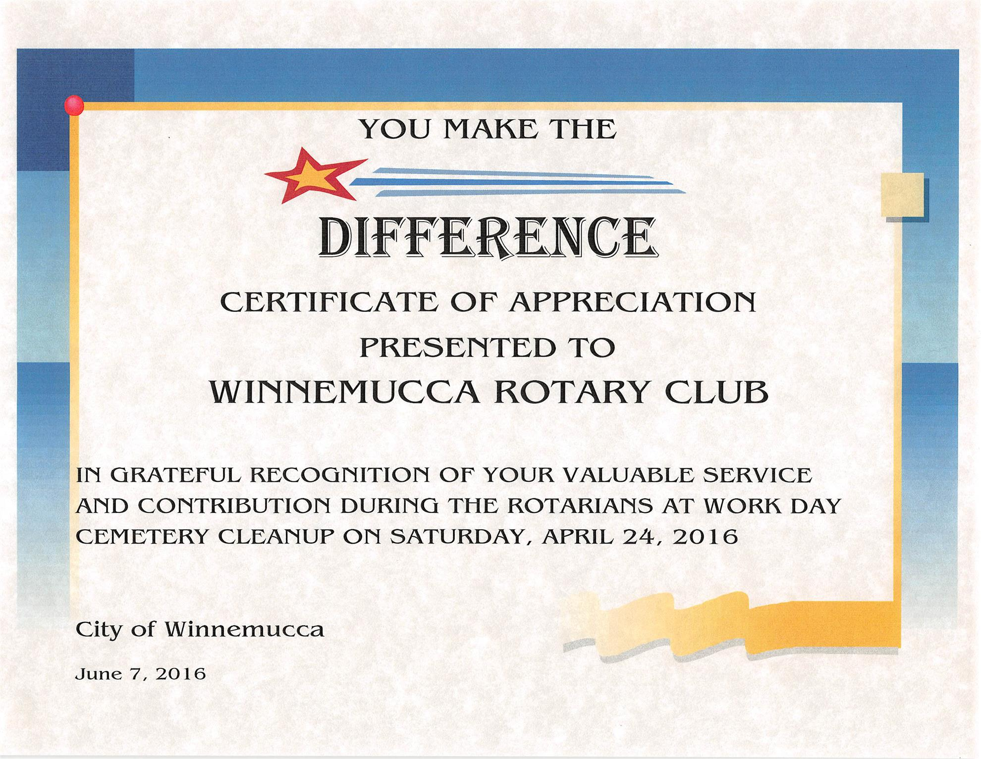 Home page rotary club of winnemucca for Rotary certificate of appreciation template